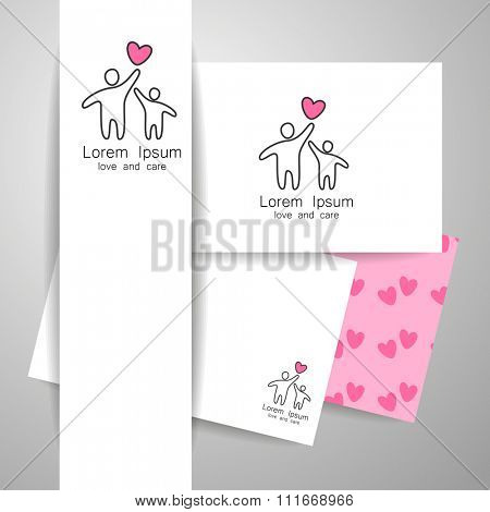 Parent. Template design for an icon or logo. Symbol of protection, care and love for children.