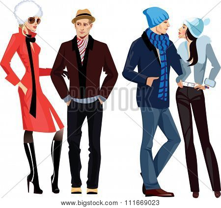men and women in winter clothes
