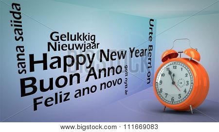 Alarm clock counting down to twelve against creative image of happy new year concept