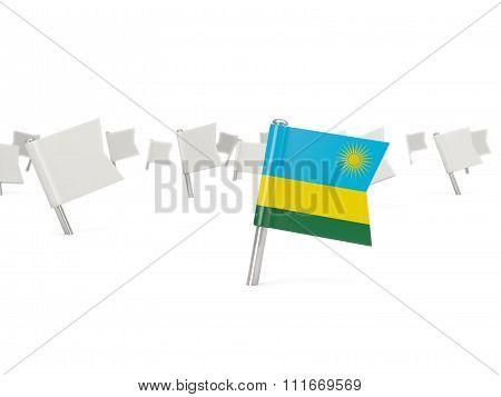 Square Pin With Flag Of Rwanda