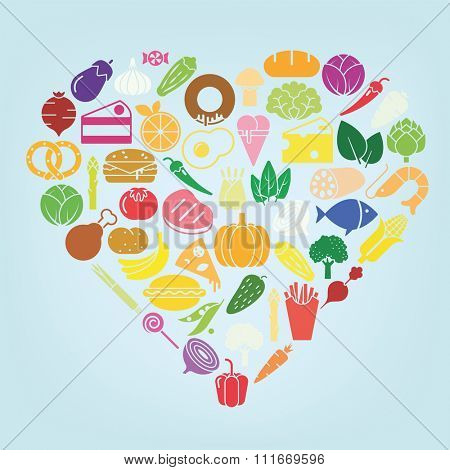 Heart-shaped assortment of multicolored food icons