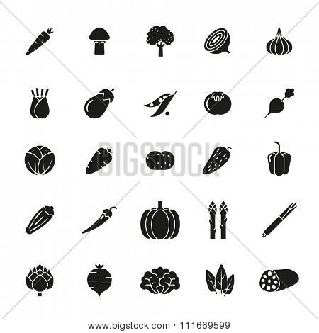 Solid black vegetable icons collection