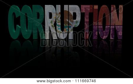 Corruption text with Mexican flag and currency illustration