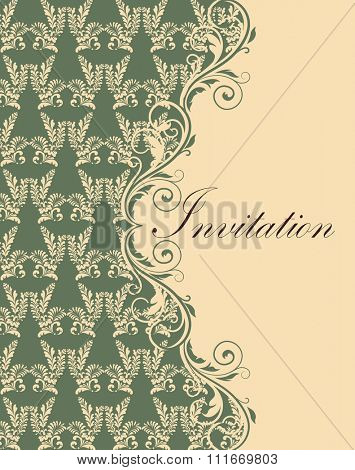 Vintage invitation card with ornate elegant retro abstract floral design, pale yellow flowers and leaves on laurel green and pale yellow background with text label. Vector illustration.