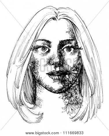 Woman portrait, flowers decoration sketch