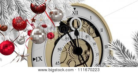 Christmas tree decorated with golden ornaments against close-up of antique pocket clock with roman numbers Close-up of antique pocket clock with roman numbers against white vackground
