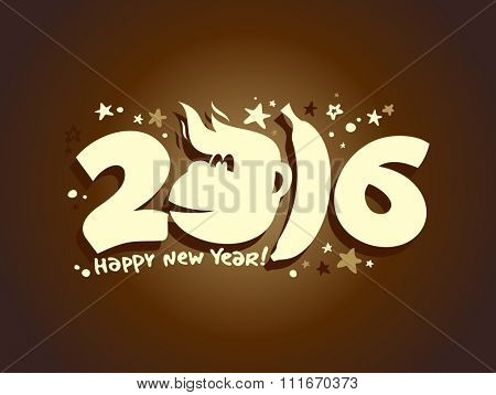 Happy 2016 new year poster with fiery monkey and babana silhouette.