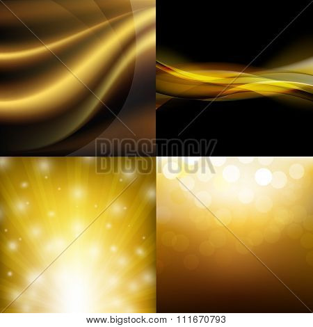 Luxury Golden Backgrounds Set With Gradient Mesh, Vector illustration