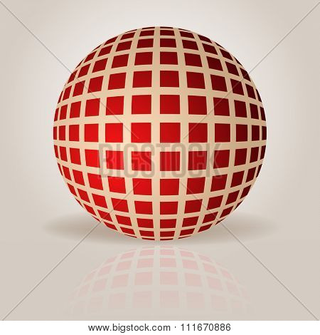 Abstract sphere with grid pattern vector illustration.