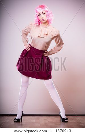Woman With Pink Wig Creative Visage