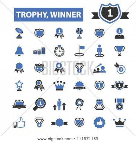 award trophy, awards icons, achievement, award ribbon, trophy, prize  icons, signs vector set for infographics, mobile, website, application