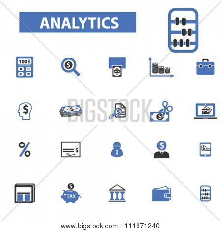 accountant, analytics, analyse, financial consultant, accounting agency icons, signs set, vector