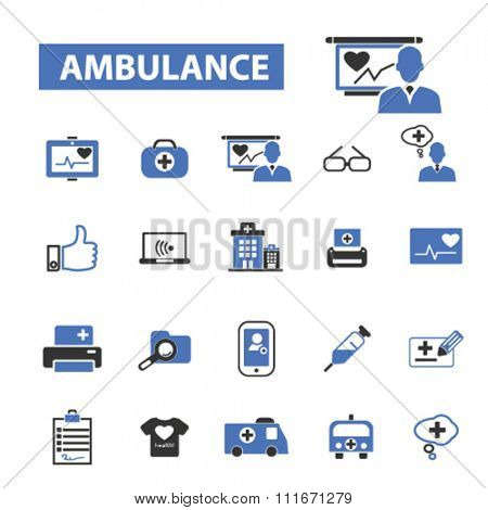 ambulance, emergency medicine, ambulance car, icons, signs vector set for infographics, mobile, website, application