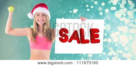 Festive fit blonde showing poster against light design shimmering on blue