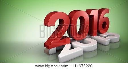 2016 graphic against green vignette