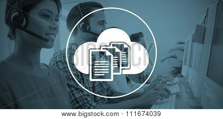 Business team working at the call centre against document against cloud over white background