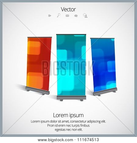 Roll Up banner stand design, vector