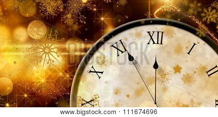 Roman numeral clock counting down against christmas light design