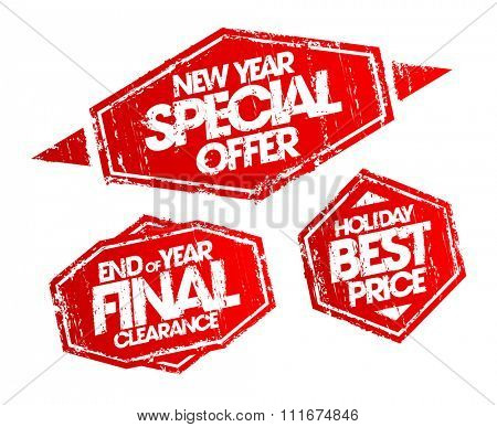 New year special offer stamp, end of year final clearance stamp, holiday best price stamp. Christmas holidays sale vector stamps set.