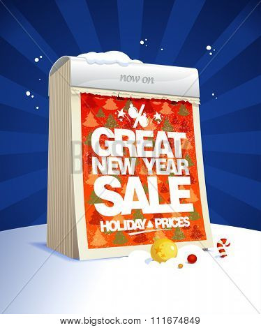 Great new year sale design in form of tear-off calendar, holiday prices.