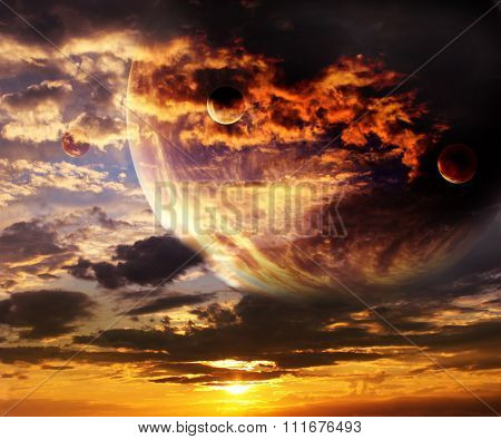 Sunset in alien planet. Sky with storm clouds and four planets. Elements of this image furnished by NASA