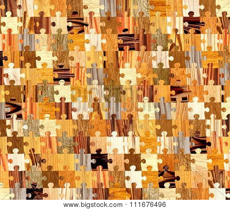Background with wooden patterns of different colors and puzzle shapes. Endless texture can be used for wallpaper, pattern fills, web page background, surface textures