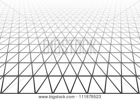 Triangles, diamonds and  hexagons geometric texture. Perspective view. Vector art.