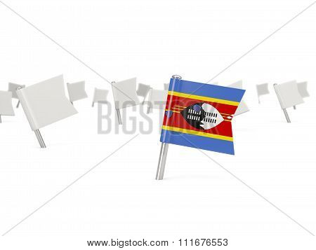 Square Pin With Flag Of Swaziland