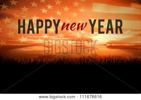 New year graphic against composite image of digitally generated united states national flag