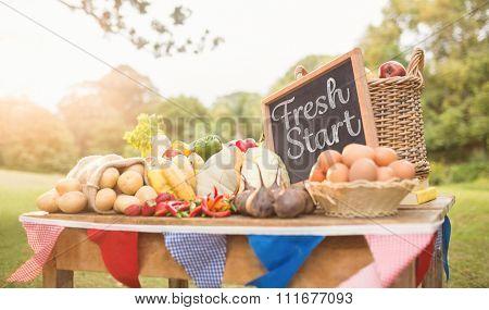 Fresh start against vegetables at farmers market
