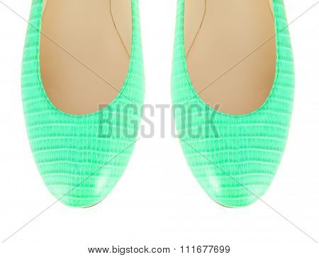 Tip of woman shoes isolated on white