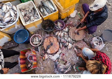 MANDALAY,MYANMAR,JANUARY 19, 2015: Men are  scaling fresh fishes on the ground in a dirty and poor street market in Mandalay, Myanmar (Burma).