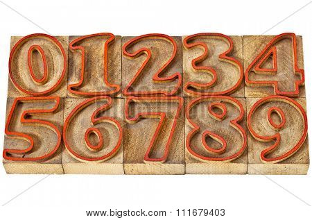 ten numbers from zero to nine in isolated vintage wood letterpress outlined printing blocks stained by red ink