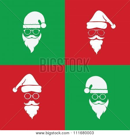 Vector Image Of Santa Hats And Beards And Eyeglasses On Red Background And Green Background
