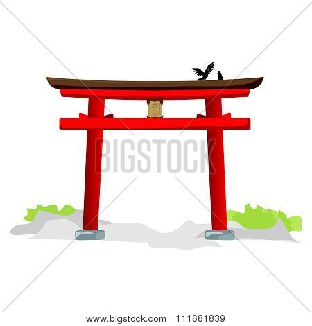 Vector Japanese Torii Shrine, Torii Gate illustration