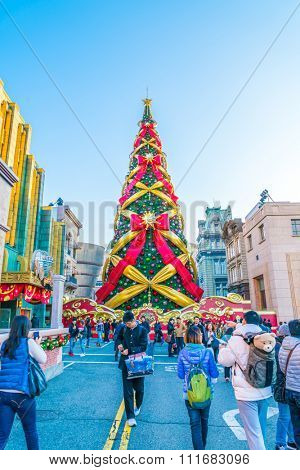 Osaka, Japan - 1 December 2015: The theme park attractions based on the film industry at Universal Studios Theme Park in Osaka, Japan on christmas celebration