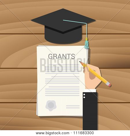 grant scholarship concept clipboard document college
