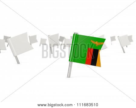 Square Pin With Flag Of Zambia