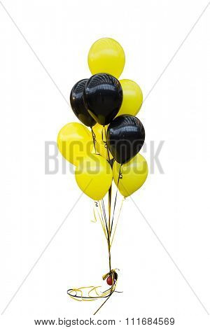 isolated bunch of balloons against white