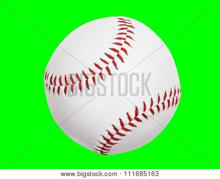 Clean new baseball isolated with chroma key green background.
