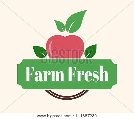 Natural eco organic product label badge vector icon. Badge eco emblem logo. Eco product label badge design elements. Badge natural food icon isolated. Farm product healthy apple logo badge design