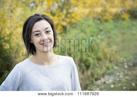Beautiful Hispanic Teen Girl portrait with braces