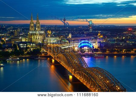 Bridge and old cathedral of Cologne,  Germany