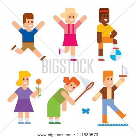 Spring or summer kids playing outdoor. Nature, holidays children. Kids play vector icons. Children playing. Spring, summer, love, childhood and friends. Kids playing vector. Boys, girls, nature vector