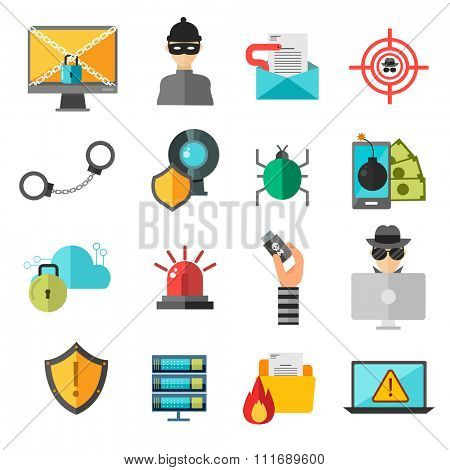 Computer safety vector icons. Computer safety, virus or hackers attack risk icons illustration. Technology safety, pc, website or mobile safety protection cover icons. Internet technology safety