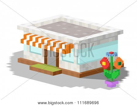Shop market building vector illustration. 3d shop store building isolated on white background. Shop store kiosk 3d building. Shop vector, shop building. 3d isometric view building vector construction