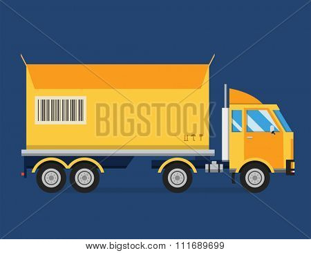 Delivery vector transport truck van and gift box pack. Delivery service van, delivery truck, delivery car. Delivery box silhouette. Product goods shipping transport. Fast delivery truck van vector