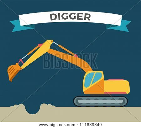 Building under construction excavator technics vector illustration. Building excavator truck vector. Under construction vector concept.Excavator vector machine isolated. Excavator vector icon isolated