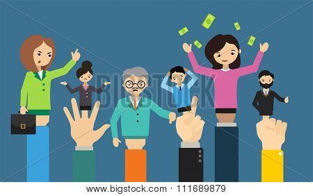 Businessman hand doll people different business situation.Leadership concept, teamwork concept. Office life. Office people illustration. Dolls business people. Doll controlled people vector concept