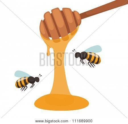 Apiary beekeeper vector illustrations. Apiary vector symbols. Bee, honey, bee house, honeycomb. Honey natural healthy food production. Bee, flowers, beehive and wax. Honey bee house apiary honey
